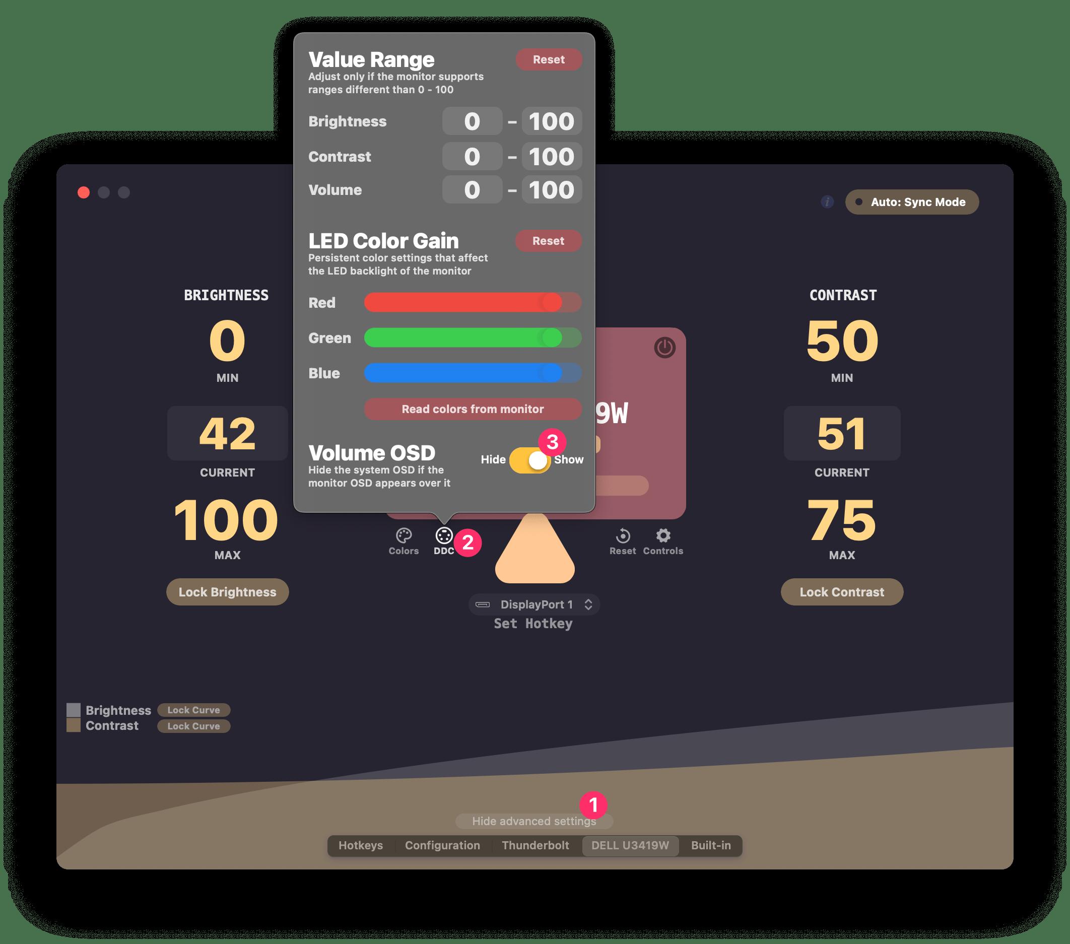 screenshot showing Lunar's setting for hiding the macOS Volume OSD